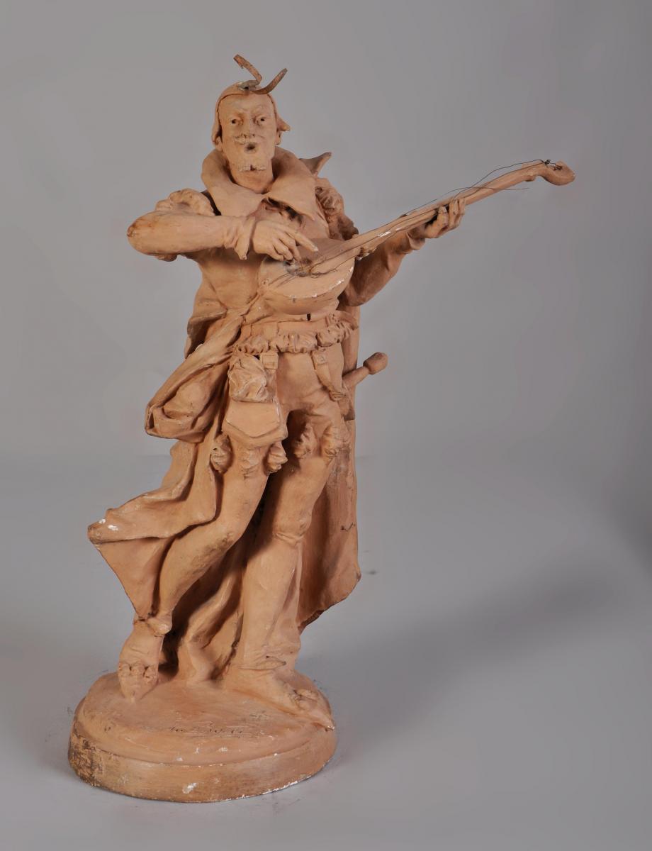 Jemeur De Luth, Plaster Sculpture Tinted Terracotta Signed I. Bouet
