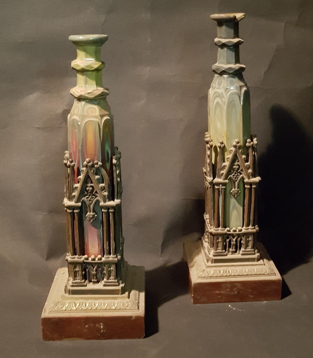 Paire de flacons en Lithyaline Ou Hyalite Montés En Bronze