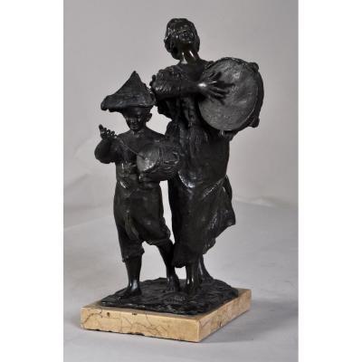 """""""Les musiciens de rue"""", Sculpture En Bronze à patine brune"""