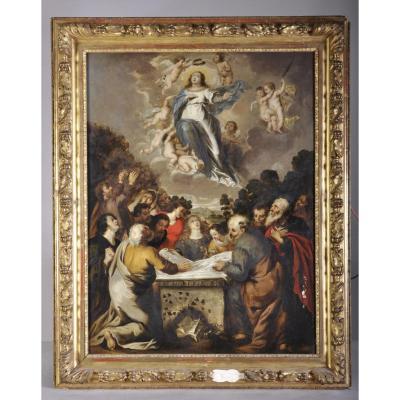 """""""assomption De La Vierge"""", Huile Sur Bois, XVIIè Siècle"""
