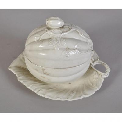Leeds Pottery, Soupière En Faïence Fine, Fin XIXè Siècle