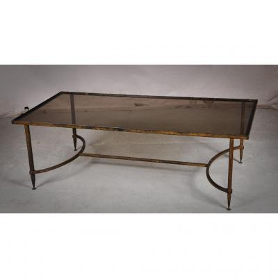 Table Basse En Fonte Et Verre Fumé Dans Le Goût De La Maison Ramsay, Années 1950