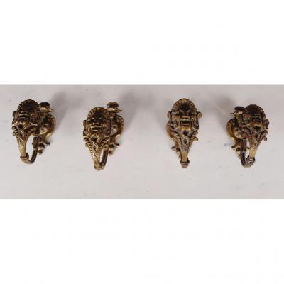 4 Embrasses à Rideaux à masques de satyres, Bronze Doré, 19e
