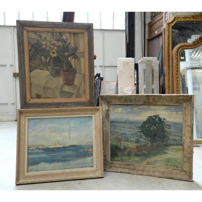 Paul Vuilleumier  - Trois Huiles Sur Bois, Paysages Et Nature Morte, XXè Siècle