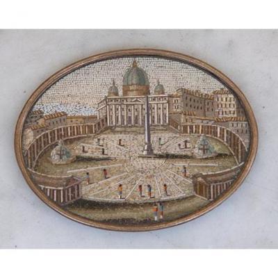 Micro-mosaïque figurant la Place Saint-Pierre de Rome