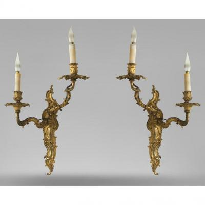 Pair Of Louis XV Sconces In Bronze Chiseled And Gilded