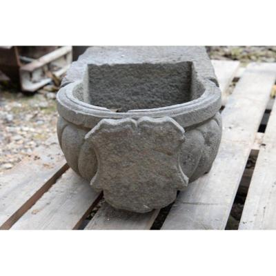 Baptismal Fund Or Stoup In Stone XIXth