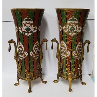 """Paire De Vases """"Cornet"""" Signés F.Barbedienne"""