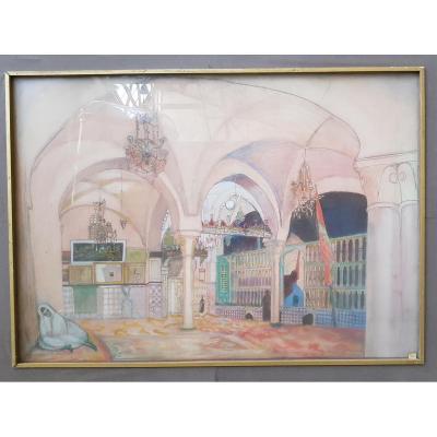Aquarelle, Intérieur De Mosquée, Julien Le Bordays