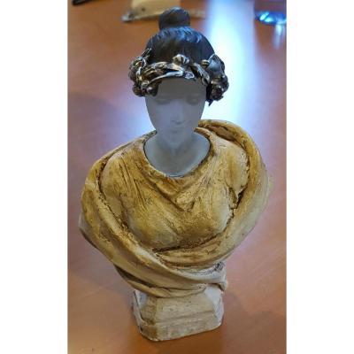 Etude buste De Femme En Plâtre, Pâte De Verre Et Argent