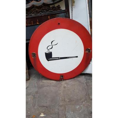 Panneau d'Interdiction De Fumer La Pipe En Tôle émaillée