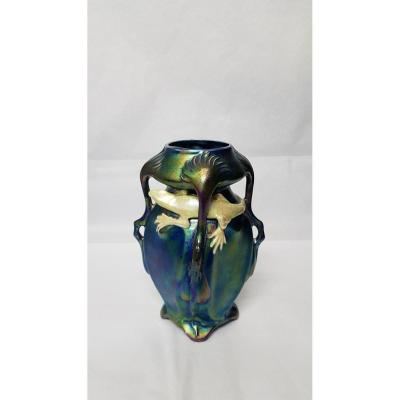 Vase En Céramique émaillée Attribué Vilmos Zsolnay (1828 - 1900)