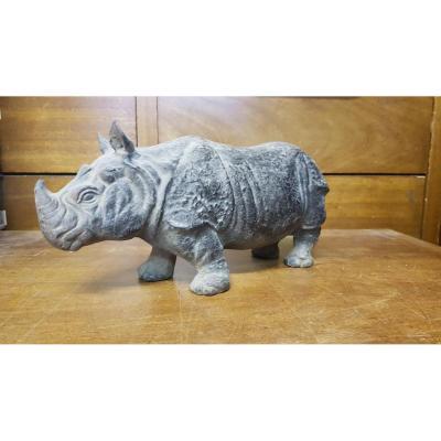 Rhinocéros En Fonte De Fer