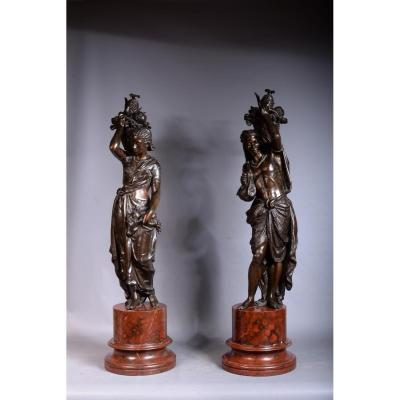 Pair Of Sculpture Regulates Representative An African Couple
