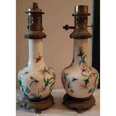 Pair Of Oil Lamp Enamelled Earthenware
