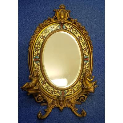 Miroir De Toilette Ovale En Bronze Doré à Décor d'émaux Cloisonnés