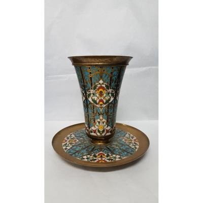 Vase Cornet And Its Tray In Bronze And Cloisonné Enamels Signed F. Barbedienne