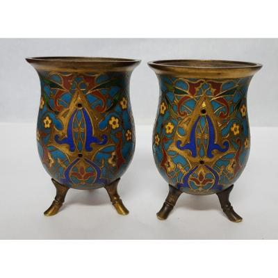 Pair Of Bronze Vases And Enamels Cloisonné F. Barbedienne