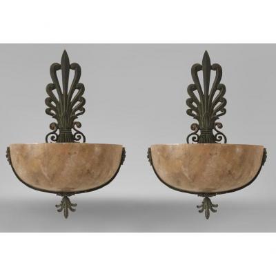 Paire d'Appliques Art Déco En Bronze , Albâtre Et Plâtre