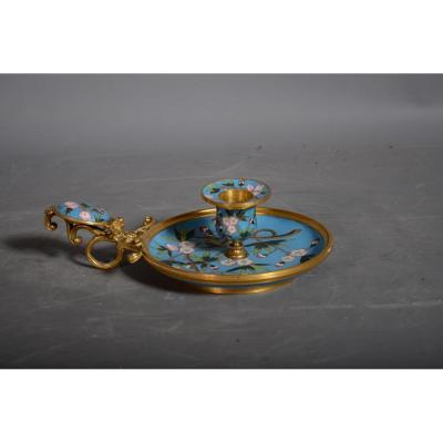 Candlestick Hand In Bronze And Enamel Cloisonné