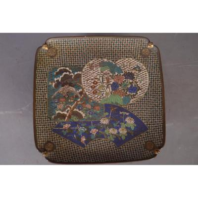 Tray Enamelled Cloisonné With Fan Decor