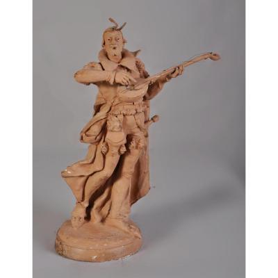 Joueur De Luth, Sculpture En Plâtre Teinté Terre Cuite Signé I. Bouet
