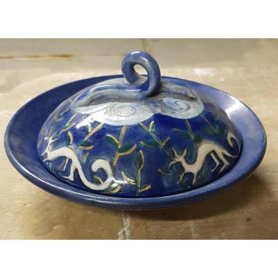 Coupe Couverte En Céramique émaillée Bleue Att. à Edouard Cazaux