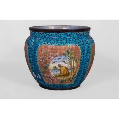Vase Japonisant En Faïence Manufacture Jules Viellars &cie Bordeaux