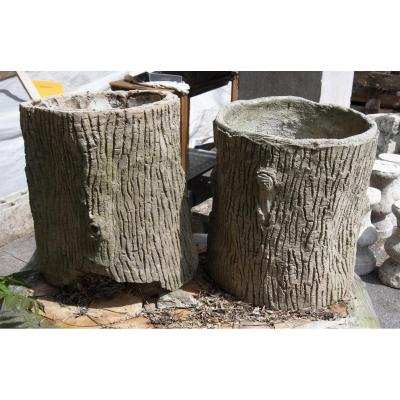 Pair Of  Tree Trunks Planters In Cement
