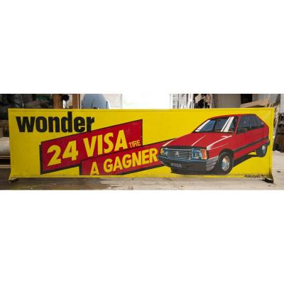 Large Vintage Advertising Board Wonder Batteries - Citroën Visa 11 Re To Win, Early 1980s