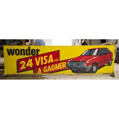 Grand Panneau Publicitaire Piles Wonder - Citroën Visa 11 Re à Gagner, Début Années 1980