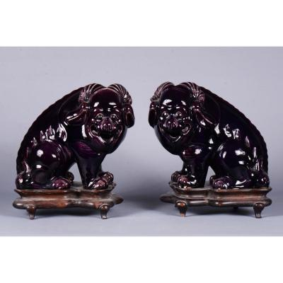 Pair Of Porcelain Fô Dogs / Rams - China 20th Century