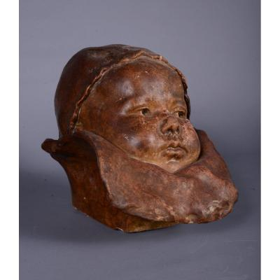 Plaster Of A Baby Face By Jean Carriès