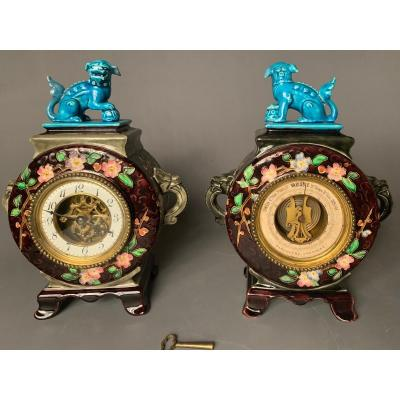 Clock And Barometer From The J. Vieillard & Cie Manufacture