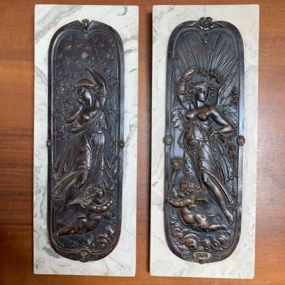 Paire De Bas-reliefs En Bronze Le Jour Et La Nuit, Edward William Wyon XIXe Siècle