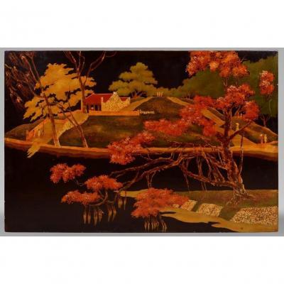 Paysage Vietnamien Laque Sur Panneau