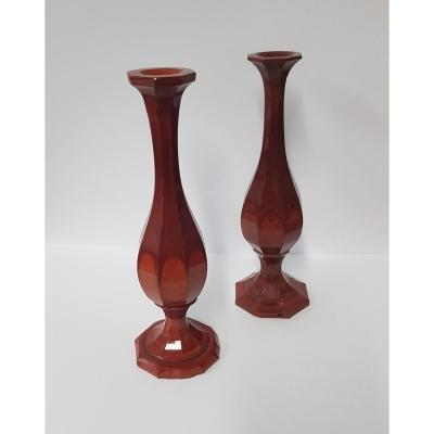 Paire De Vases En Lithyaline Ou Hyalite