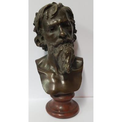 Buste d'Homme Barbu En Bronze Patiné signé Marioton