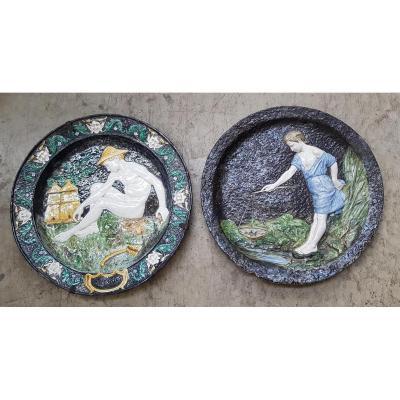 Deux plats En Céramique vernissée,1881, Max Claudet (1840 - 1893)