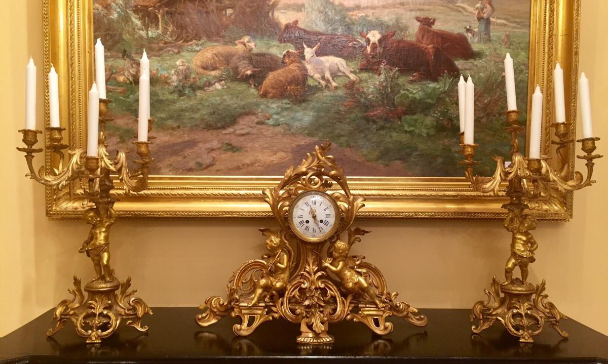 Garniture De Cheminee Napoleon Iii En Bronze Dore Garnitures De