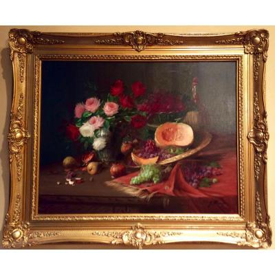 Still Life With Flowers And Fruits By Olivier