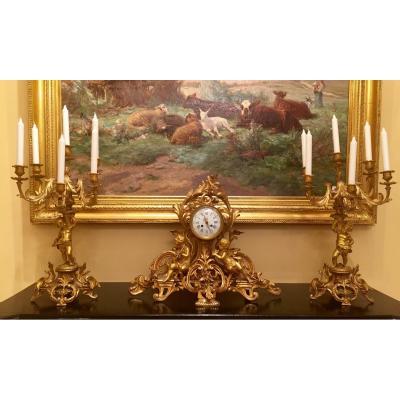 Garniture De Cheminée Napoléon III En Bronze Doré