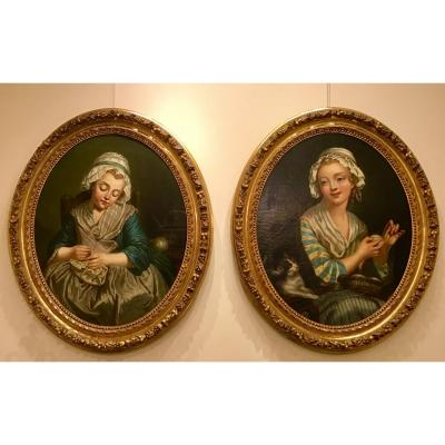 Pair Of Oval Portraits In The Style Of Greuze