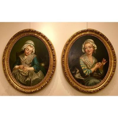 Paire De Portraits Ovales Dans Le Style De Greuze
