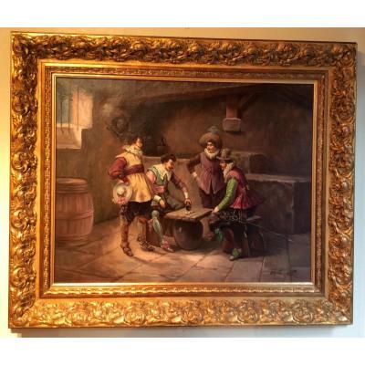 Paire De Tableaux Scenes De Taverne Mousquetaires