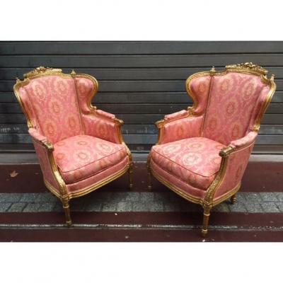 Pair Of Bergeres Napoleon III Louis XVI Style