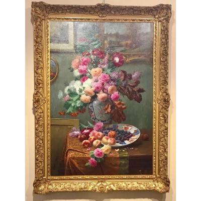 Nature Morte Et Bouquet De Fleurs Par Max Carlier (sous Son Pseudonyme De Max Albert)