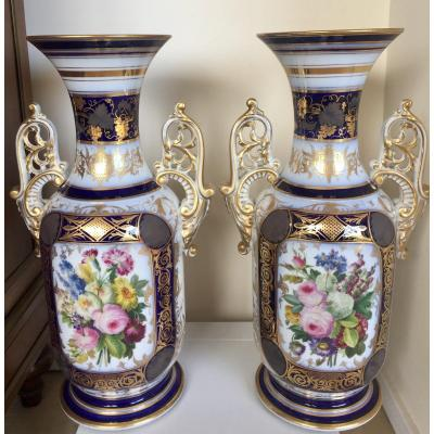 Pair Of Porcelain Vases With Floral Decor