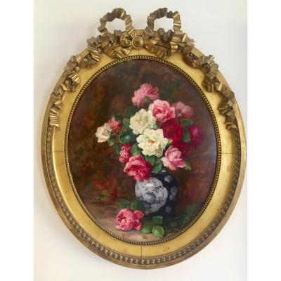 Bunch Of Roses In An Oval Frame By Lillie Honnorat