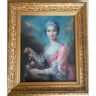 Pastel Représentant Un Portrait De Jeune Fille Dans Le Goût De Nattier
